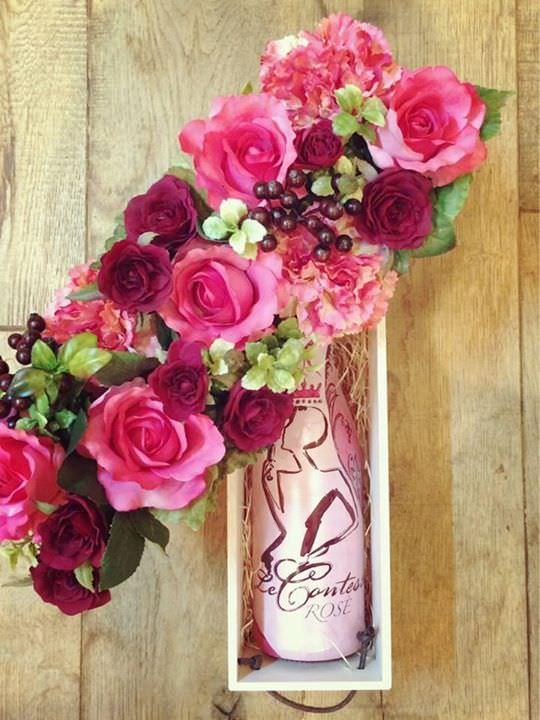 お花とワインのセット4