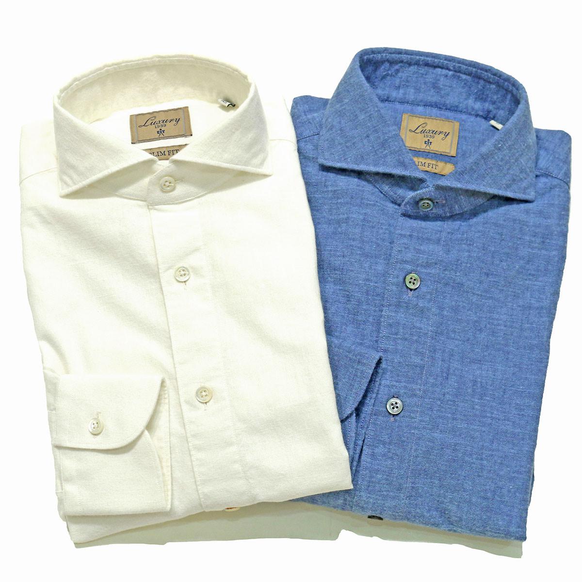 CIT LUXURY(チットラグジュアリー)PAUL ブラッシュドコットン シャンブレー ワイドカラーシャツ
