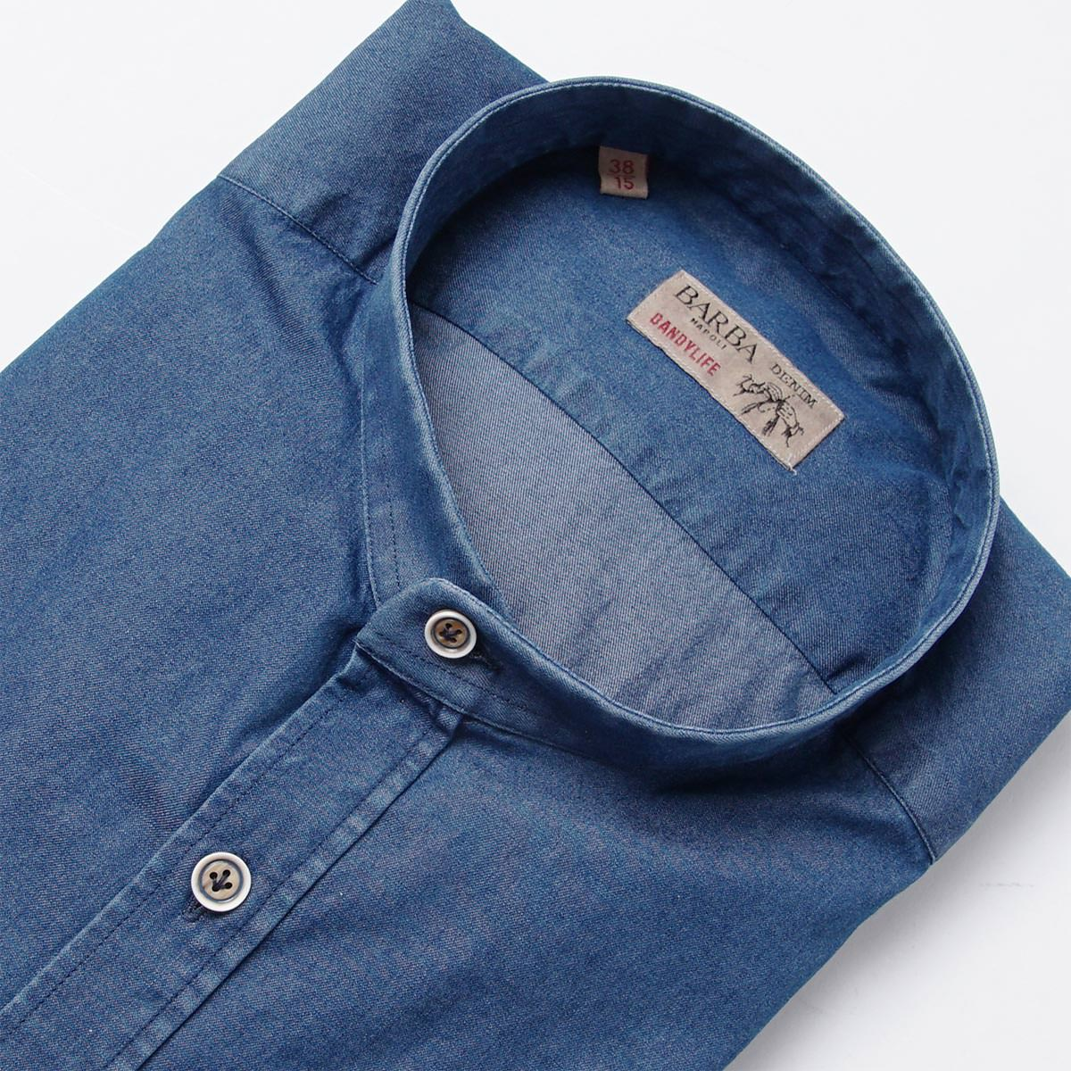 バルバBARBA スタンドカラーシャツ