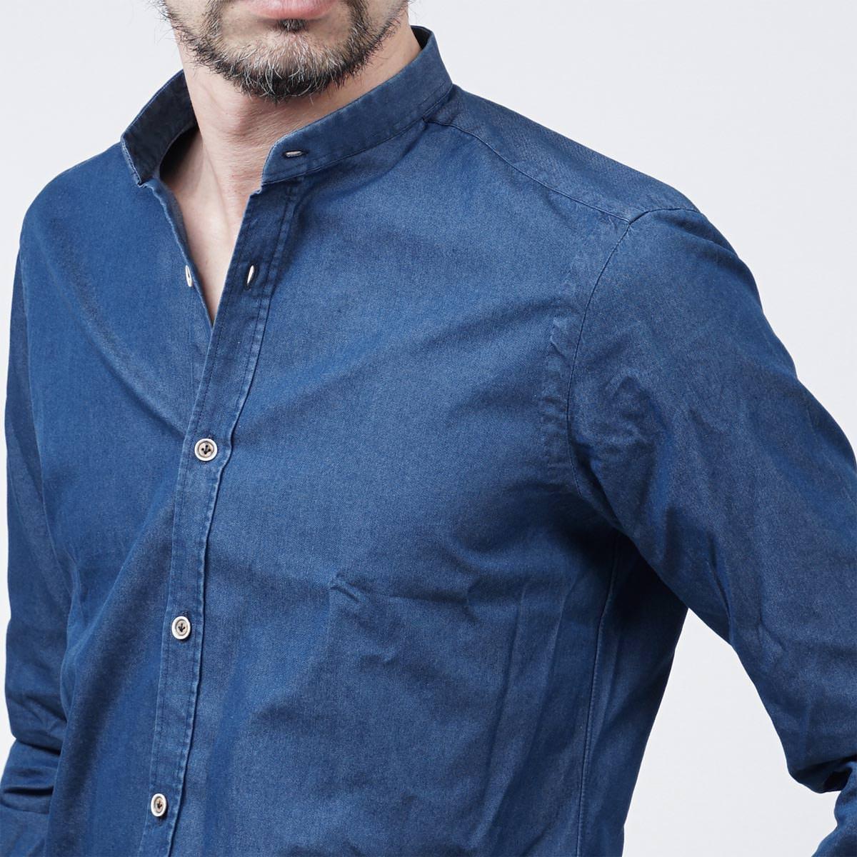 バルバBARBA スタンドカラーシャツ デニムシャツ2