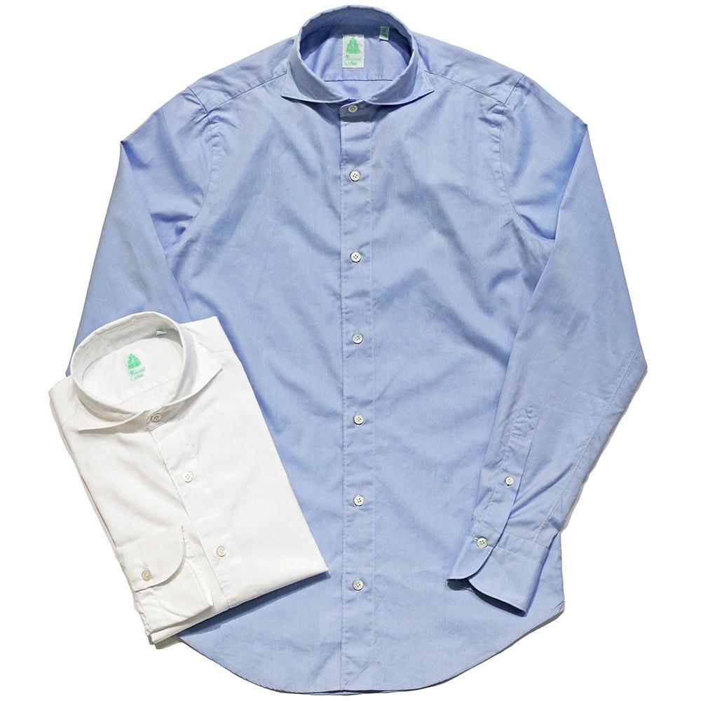 Finamore(フィナモレ)SIMONE コットン ソリッド ウォッシュド ワイドカラーシャツ