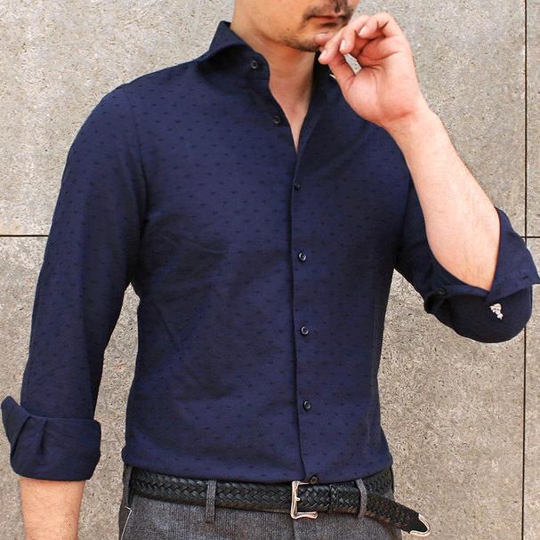 GUY ROVER(ギローバー)コットン ハート刺繍 ワイドカラーシャツ