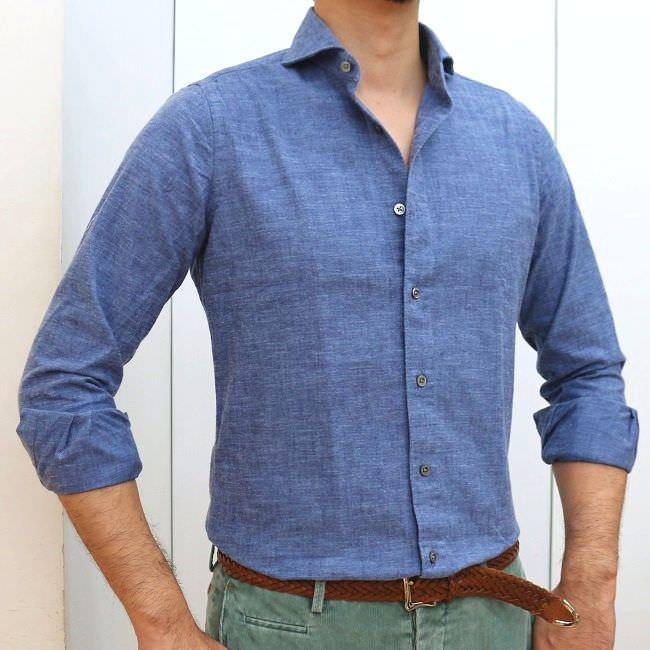 CIT LUXURY(チットラグジュアリー)PAUL ブラッシュドコットン シャンブレー ワイドカラーシャツ 2