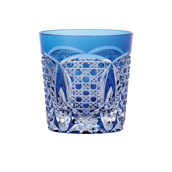江戸切子ロックグラス 瑠璃色