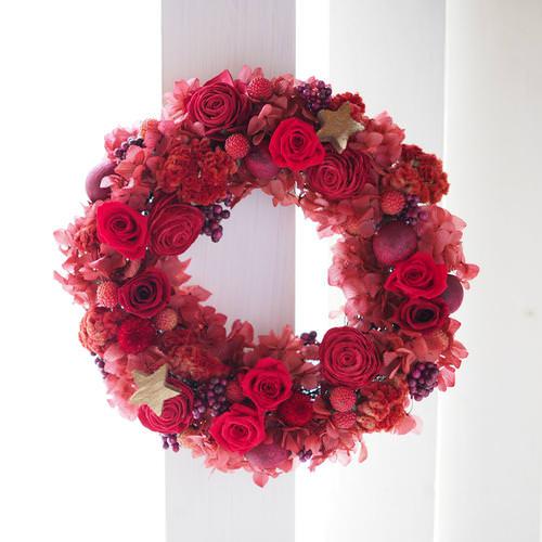 プリザーブドフラワー  赤いバラのX'masリース