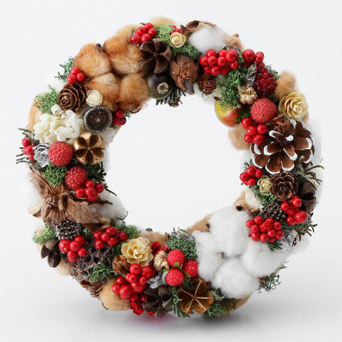 クリスマス フラワーリース 赤