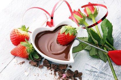 fresh strawberries and dark chocolate