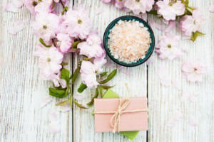 Spa products with sakura blossom