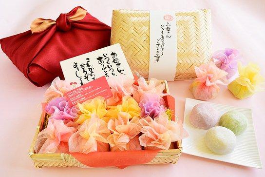 和菓子の花束籠盛りセット