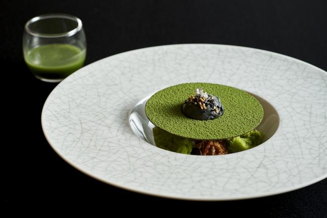 リーガロイヤルホテル小倉,八女抹茶のアフォガート レンズ豆のチャツネ