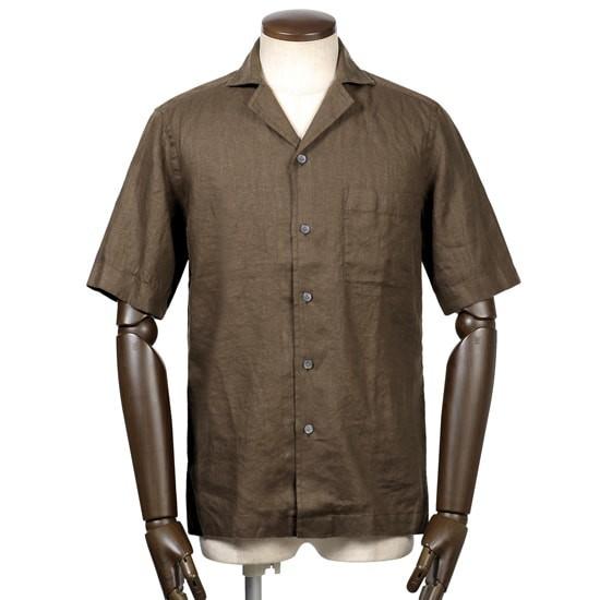 バグッタ,ヘビーリネンポプリン半袖オープンカラーシャツ