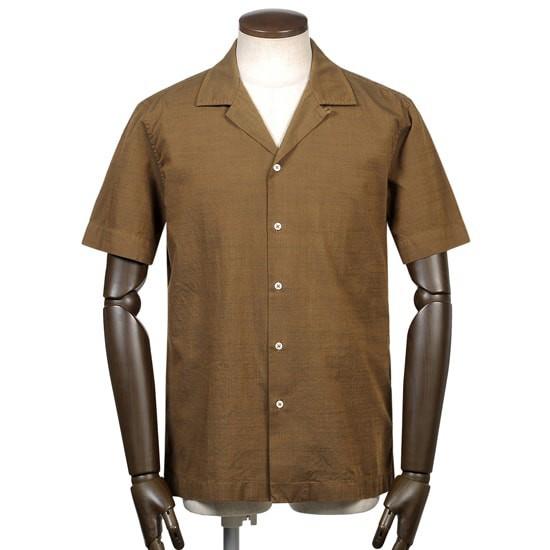 カプリ,コットンスラブシャンブレー半袖オープンカラーシャツ