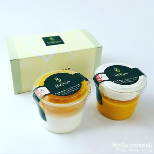 千疋屋総本店のマンゴープリン、絹ごし杏仁マンゴー